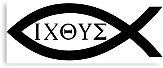 早期基督徒为了躲避罗马帝国的迫害,使用鱼的图形作为暗号来确认彼此的身份,俗称「耶稣鱼 Jesus Fish」。因为「鱼 ΙΧΘΥΣ」这个词的希腊文由代表基督教信仰核心的5个词的首字母组成:耶稣(ΙΗΣΟΥΣ)、基督(ΧΡΙΣΤΟΣ)、神的(ΘΕΟΥ)、儿子(ΥΙΟΣ)、救主(ΣΩΤΗΡ)。