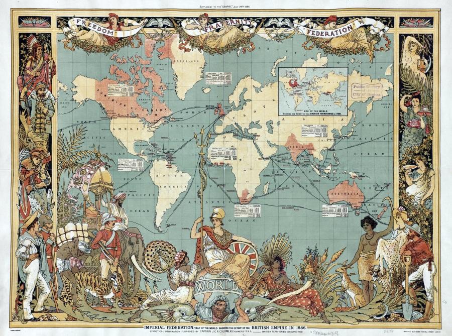 上图:1886年大英帝国的版图。
