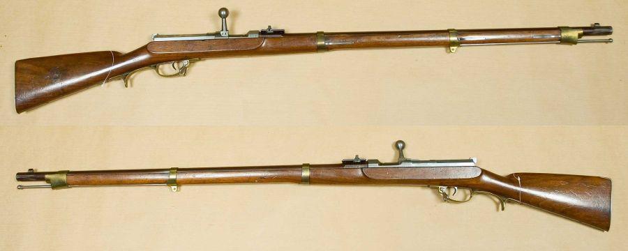 上图:1841年的德莱赛针发枪(Dreyse Needle Gun),开枪时用击针贯穿纸筒式弹壳、撞击子弹底部的雷管。射速每分钟6发。普鲁士于1841年率先装备现代后膛步枪和定装弹,于1848年的德国革命中首次使用,经历1864年普丹战争、1866年普奥战争、1870年普法战争三大战役后,使普鲁士迅速崛起、统一德国,并间接导致意大利统一。直到1872年,才被毛瑟1871型步枪代替。