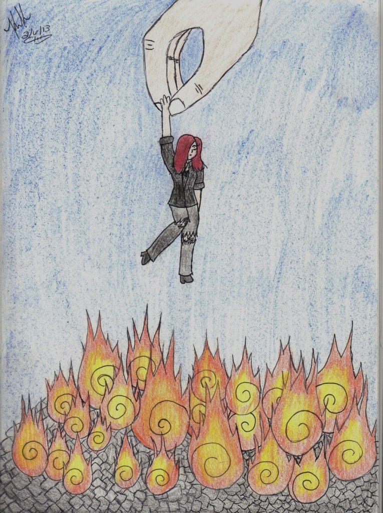 上图:属血气的人都被神捏在手中,悬在地狱的火坑之上。
