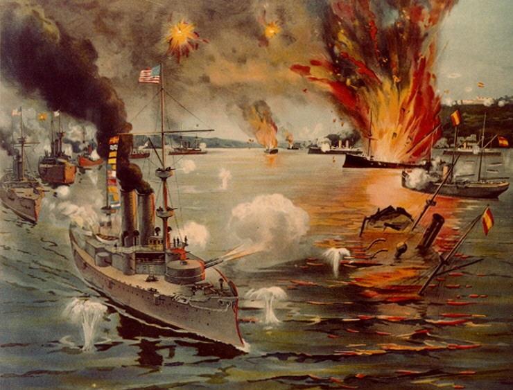 上图:1898年美西战争马尼拉湾海战中的美军铁甲舰。