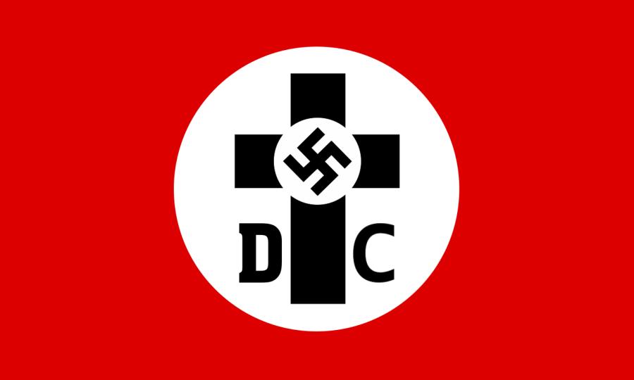 上图:1934年的德意志基督徒(German Christians)旗帜。德意志基督徒是「正面基督教」运动的产物。「正面基督教 Positive Christianity」是纳粹德国的一场融合了种族纯洁、纳粹意识形态和基督教元素的运动。1920年,希特勒在纳粹党党纲第24条称:「本党代表正面基督教的立场」。「正面基督教」运动是非宗派的,对这个词的各自解读,缓解了德国主流基督徒对纳粹运动反对建制教会的担心。「正面基督教」认为,传统基督教只强调基督生活的被动而不是主动方面,只强调祂的出生、受苦、受死和救赎。所以他们要用「正面、积极」的方面来取代传统神学,强调基督是反对犹太教的积极的传道者、组织者和斗士,否定基督和圣经的犹太起源。1937年,纳粹教会事务部长Hanns Kerrl解释:「正面基督教」并不倚靠《使徒信经》,也不倚靠「信基督为神的儿子」,而是主张「元首是新启示的先驱」。纳粹思想理论家阿尔弗雷德·罗森贝格(Alfred Rosenberg)把天主教和新教称为「负面的基督教 negative Christianity」,他在二战期间为德国未来的宗教起草了一个计划,准备驱逐外国基督教势力,在纳粹教会中用《我的奋斗》代替圣经,用万字符(卐)代替十字架。