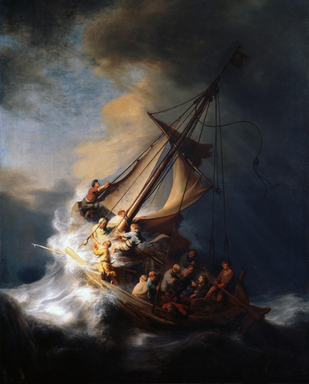 上图:加利利海的风暴(The Storm on the Sea of Galilee,Rembrandt van Rijn,伦勃朗1633年油画)。