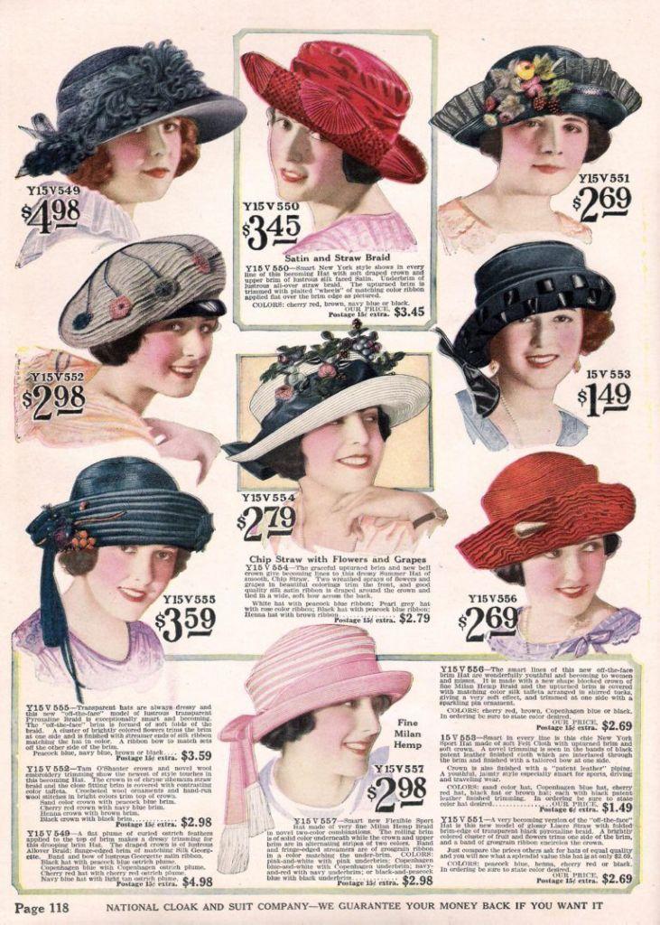 上图:1922年的美国女士帽(Ladies' Hats)广告,帽子的意义已经从谦卑的蒙头变为时尚的装饰品。