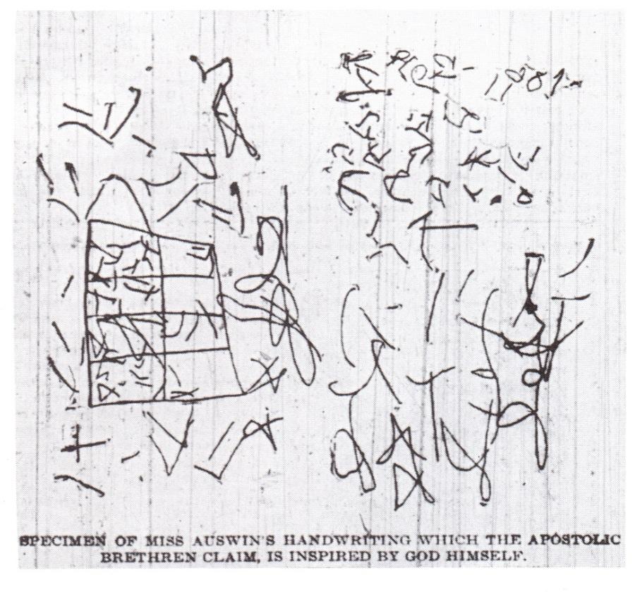 上图:1901年,美国堪萨斯州伯特利圣经学校(Bethel Bible School)的女学生艾格妮斯·欧兹曼(Agnes Ozman)开始说方言以后所写的「中文」。欧兹曼小姐开始说方言,标志着现代五旬节运动和灵恩运动的开始。