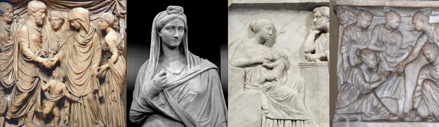 上图:古罗马浮雕上的一系列妇女形象,表明当时希腊罗马妇女并非都必须蒙头,所谓「哥林多只有妓女不蒙头」、「已婚妇女必须蒙头」的说法并没有考古或文献根据。左一是婚礼的场面,其中新娘蒙头,伴娘不蒙头;左二是一位蒙头的已婚妇女;左三是一位不蒙头的哺乳母亲;左四是一群不蒙头的玩耍女孩。