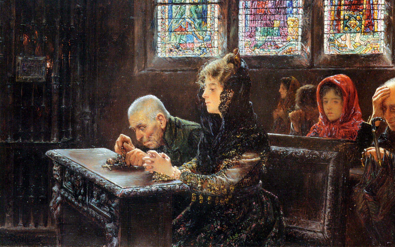 上图:西班牙画家何塞·加列戈斯·阿诺萨(José Gallegos y Arnosa,1857-1917年)于1902年所画的《El Rosario》,描绘当时教堂里的妇女用薄纱蒙头。