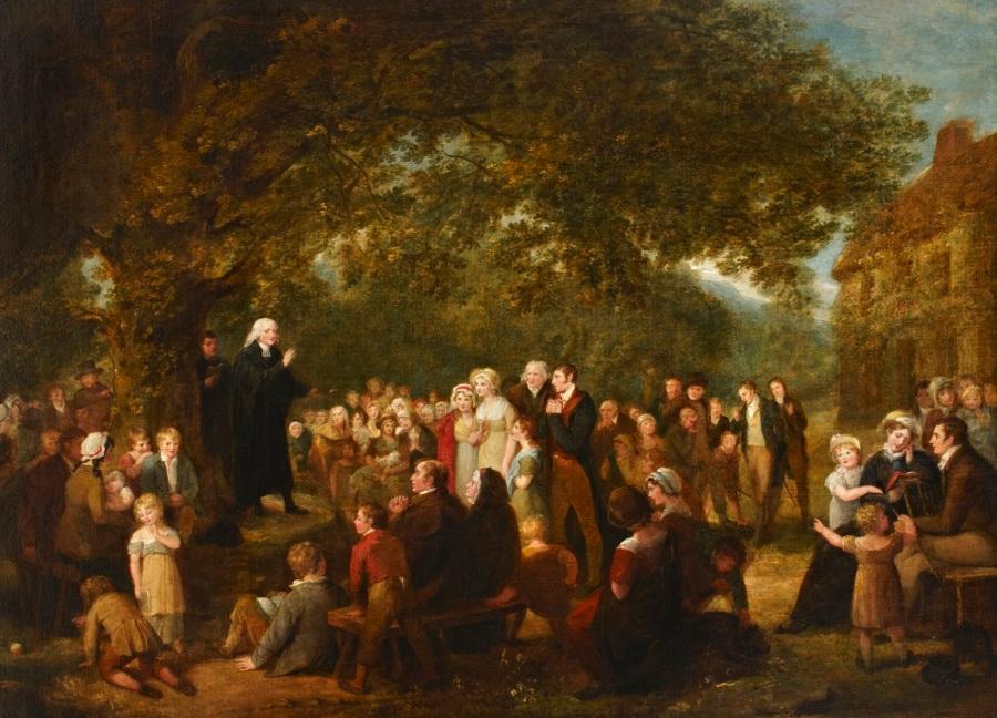 上图:英国画家Maria Spilsbury(1776-1820年)创作的油画,描绘约翰·卫斯理(1703-1791年)1789年在爱尔兰讲道,画中的妇女都带着帽子或头巾蒙头。