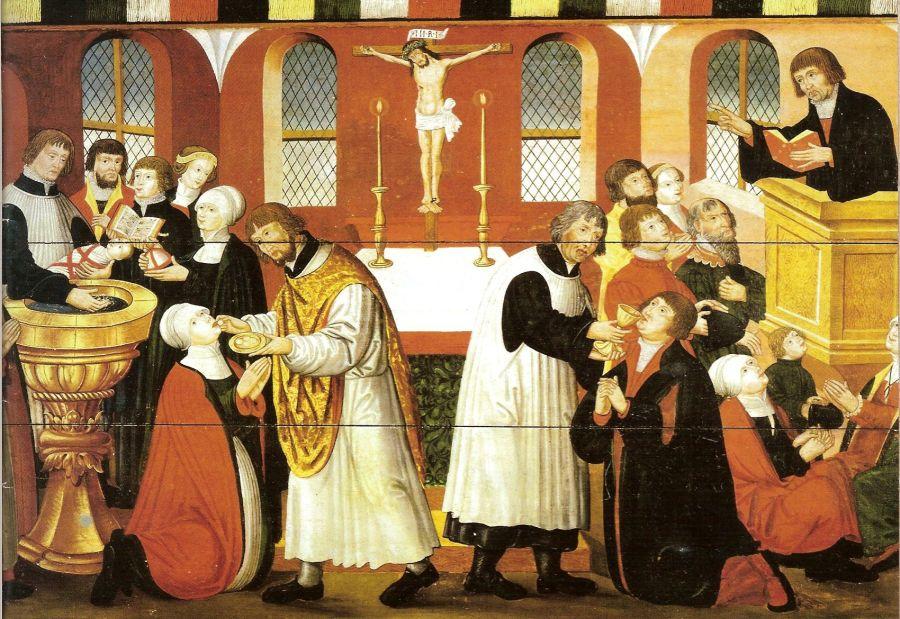 上图:一幅描绘1561年马丁·路德讲道和圣餐的画作,现藏于丹麦哥本哈根国家博物馆。在这幅画中,可以看到听道的妇女都是蒙头的。