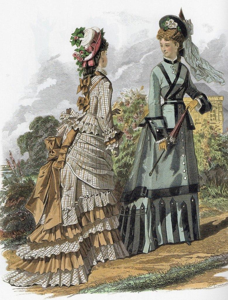 上图:维多利亚时代英国上层妇女用于乡村游览的服装,代表谦卑的头纱逐渐变成华丽的帽子和头饰。印刷于1875年。
